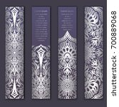 card set with floral lace... | Shutterstock .eps vector #700889068