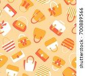 woman bags seamless pattern.... | Shutterstock . vector #700889566