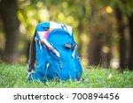 back to school. blue school... | Shutterstock . vector #700894456