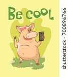 vector card with colour cute ... | Shutterstock .eps vector #700896766
