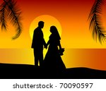 silhouette of wedding couple on ... | Shutterstock .eps vector #70090597