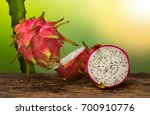 Dragon Fruit On An Old Wood...
