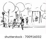 people in the park outdoors.... | Shutterstock .eps vector #700916032