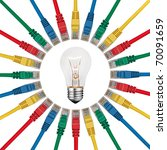 IT Solutions & Idea - Lightbulb in the center of colored network cables isolated on white background - stock photo