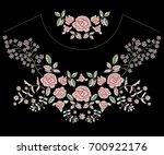 embroidery folk neckline... | Shutterstock .eps vector #700922176