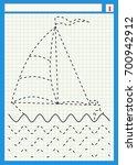 boat  sea  waves. preschool... | Shutterstock .eps vector #700942912