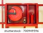 closed up red cabinet  the door ... | Shutterstock . vector #700949596