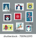postage stamps set for... | Shutterstock .eps vector #700961095