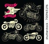 cafe racer doodle | Shutterstock .eps vector #700965196