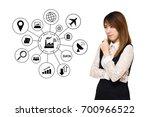 young asian business woman... | Shutterstock . vector #700966522