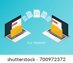 isometric laptop file transfer... | Shutterstock .eps vector #700972372