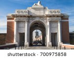 Menin Gate Memorial to the Missing in Ypres, West Flanders, Belgium.