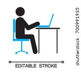 man working at computer... | Shutterstock .eps vector #700991935