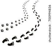 animal and human footprints... | Shutterstock .eps vector #700994836