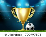 soccer football trophy prize... | Shutterstock .eps vector #700997575