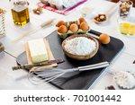 baking ingredients in rural... | Shutterstock . vector #701001442