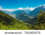 City of Martigny and Sembrancher in the Southern Switzerland. Cities Panorama. Martigny-Combe. - stock photo