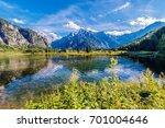 scenic alpine lake almsee... | Shutterstock . vector #701004646