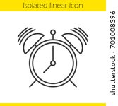 ringing alarm clock linear icon.... | Shutterstock .eps vector #701008396