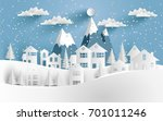 views of the house in winter.... | Shutterstock .eps vector #701011246