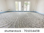 underfloor heating in construction of new residential house - stock photo