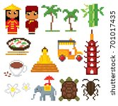 vietnam icons set. pixel art.... | Shutterstock .eps vector #701017435