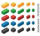 set of plastic building blocks... | Shutterstock .eps vector #701022142