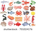 seafood dinner menu items flat... | Shutterstock .eps vector #701024176