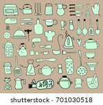 kitchen color icon doodle set | Shutterstock .eps vector #701030518