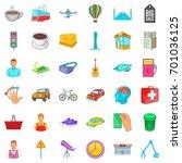 big city icons set. cartoon... | Shutterstock .eps vector #701036125