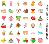 child care icons set. cartoon... | Shutterstock .eps vector #701042812