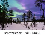 Winter Night Landscape With...