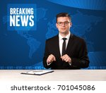 television presenter in front... | Shutterstock . vector #701045086