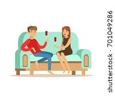 young couple in love sitting on ... | Shutterstock .eps vector #701049286