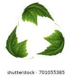 recycling sign on green leaf  | Shutterstock . vector #701055385