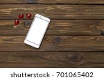 mock up. white smartphone and...   Shutterstock . vector #701065402