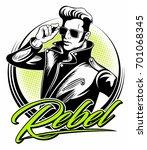 rockabilly rebel in leather... | Shutterstock .eps vector #701068345