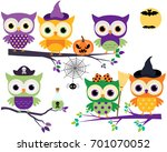 cute halloween owls in orange ... | Shutterstock .eps vector #701070052