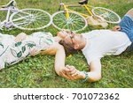 happy young people make a break ... | Shutterstock . vector #701072362