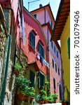Small photo of MONTECATINI ALTO ITALY AUGUST 16: Historic palaces in the medieval town square (Piazza Giusti) - August 16 2017 Montecatini Alto, Italy