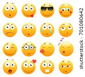 set of 3d cute emoticons. emoji ... | Shutterstock . vector #701080642