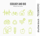eco icons vector set. thin line ... | Shutterstock .eps vector #701085592