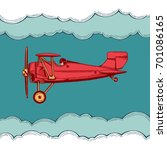 airplane with pilot and... | Shutterstock .eps vector #701086165