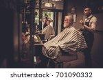 senior man visiting hairstylist ... | Shutterstock . vector #701090332