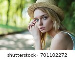 portrait of a cute beautiful... | Shutterstock . vector #701102272