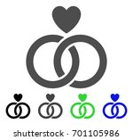 wedding rings with heart flat... | Shutterstock .eps vector #701105986