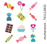 sweets and candies icons.   Shutterstock .eps vector #701112832