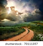 rural road and the blue sky | Shutterstock . vector #70111357