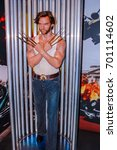 Small photo of LONDON, ENGLAND, UK - APR 12, 2012: Madame Tussaud Wax Museum Model Wolverine Hugh Jackman