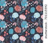 seamless autumn vector pattern... | Shutterstock .eps vector #701115592